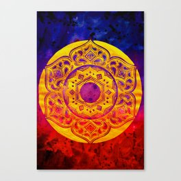 """SACRED GEOMETRY"" WATERCOLOR MANDALA (HAND PAINTED) BY ILSE QUEZADA Canvas Print"