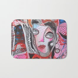 Lady In Pink And Orange Bath Mat