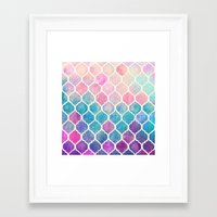 shapes Framed Art Prints featuring Rainbow Pastel Watercolor Moroccan Pattern by micklyn
