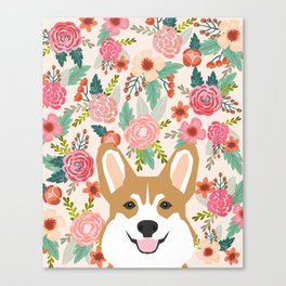 Welsh Corgi cute flowers spring summer garden dog portrait cute corgi puppy funny god illustrations Canvas Print