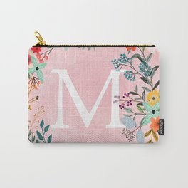 Flower Wreath with Personalized Monogram Initial Letter M on Pink Watercolor Paper Texture Artwork Carry-All Pouch