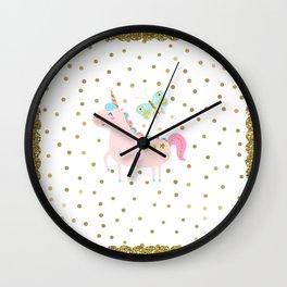 Pink & Gold Glitter Unicorn Wall Clock