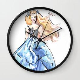 Girl in blue dress. Fashion illustration. Podium. Wall Clock