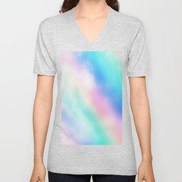 Rainbow Pastel Clouds Unisex V-Neck
