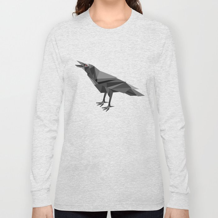 Raven Geometric Grey Triangles Long Sleeve T-shirt