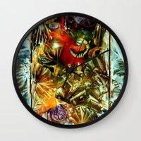 metallic Wall Clocks featuring Metallic by Vargamari