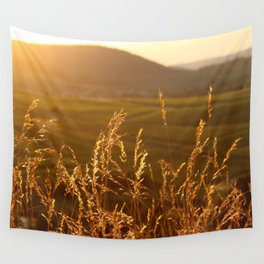 Gold Warm Light - JUSTART © Wall Tapestry