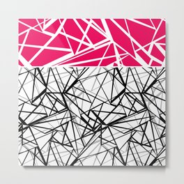 Black and white abstract geometric pattern with red inlay . Metal Print