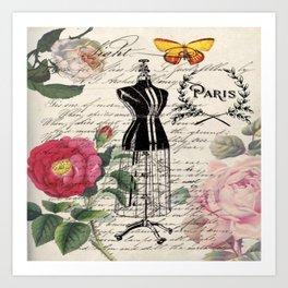 french country rose floral modern vintage dress mannequin paris fashion Art Print