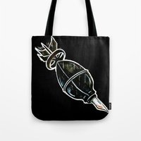 bombs away Tote Bags featuring BOMBS AWAY! by FWACATA!