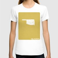 oklahoma T-shirts featuring Oklahoma Minimalist Vintage Map by Finlay McNevin