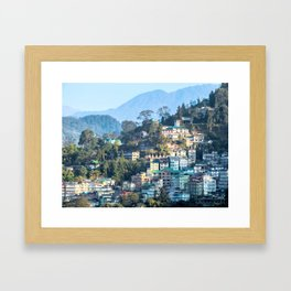 Pastel City : Gangtok Framed Art Print