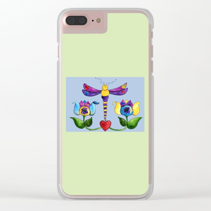 Dragonfly Love Clear iPhone Case