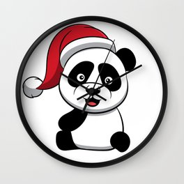 Cute Panda Bear Merry Christmas Gift Idea Xmas Wall Clock