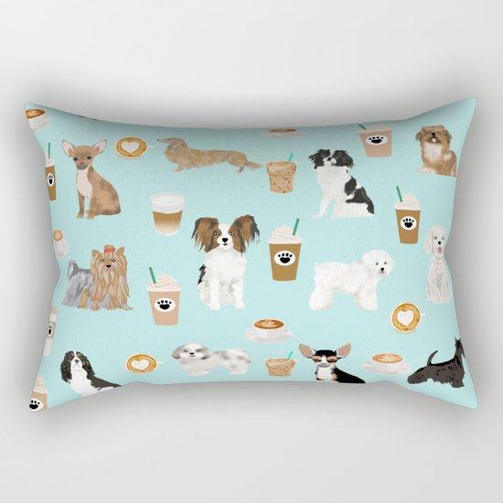 Coffee Dogs cute miniature dog breeds chihuahua bichon terrier Shih tzu pomeranian latte coffees Rectangular Pillow