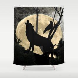Howling Wolf Crow Moon Animal Black Bird Silhouette Art A388 Shower Curtain