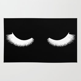 black and white eyelashes Rug