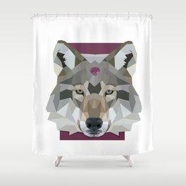Geo Gem Wolf Shower Curtain