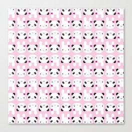 Super Cute Kawaii Bunny and Panda (Pink) Canvas Print