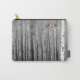 Red Cardinals in Birch Forest A128 Carry-All Pouch
