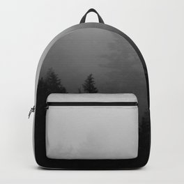 Minimalist Black and White Foggy Misty Landscape Photography Pine Forest Backpack