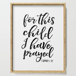 For This Child We have Prayed, Bible Verse,Scripture Art,Kids Room Decor,Nursery Wall Art,inspiratio Serving Tray