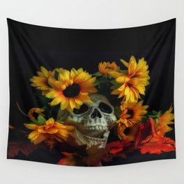 Skull and Flowers Wall Tapestry