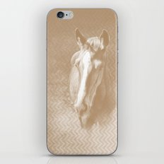 Horse emerging from the mist in iced coffee beige iPhone Skin