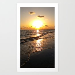 Beach sunset tide coming in Art Print