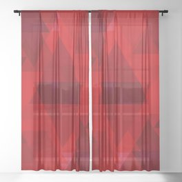 Bright red large triangles in the intersection and overlay. Sheer Curtain