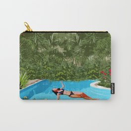 Young Girl Relaxing Underneath The Blue Sky Carry-All Pouch