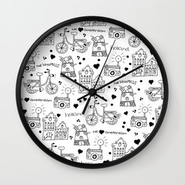 Hello Amsterdam Dutch Hipster travel icons bike and windmill Wall Clock