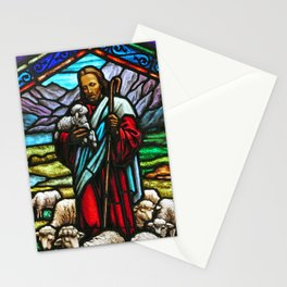 Jesus and lambs stained glass Stationery Cards