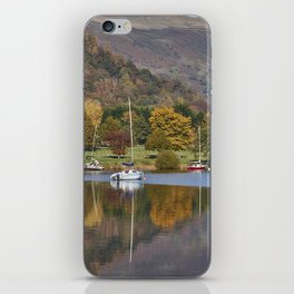 Boats and autumnal colour. Ullswater, Cumbria, UK. iPhone Skin
