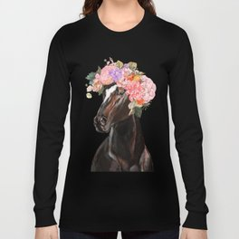 Horse with Flowers Crown in Pink Long Sleeve T-shirt