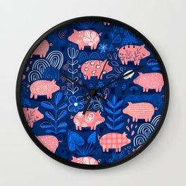 Cute pink pigs Wall Clock
