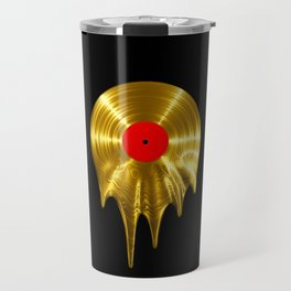 Melting vinyl GOLD / 3D render of gold vinyl record melting Travel Mug
