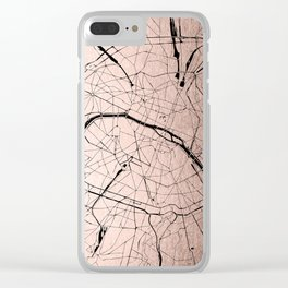 Paris France Minimal Street Map - Rose Gold Glitter on Black Clear iPhone Case