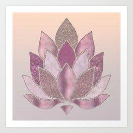 Elegant Glamorous Pink Rose Gold Lotus Flower Art Print
