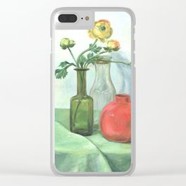 Still life with Buttercup and glass bottles Clear iPhone Case