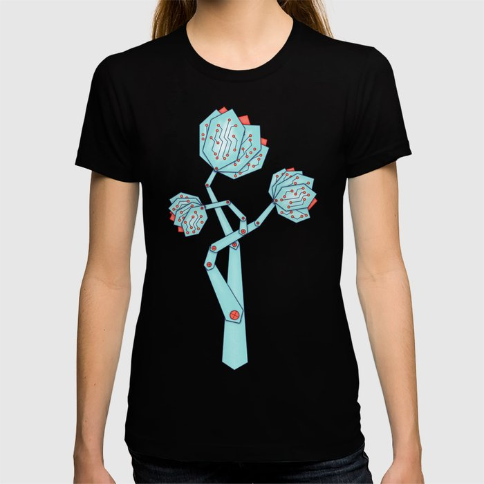 Electronic Flowers Circuit Board Petals T-shirt