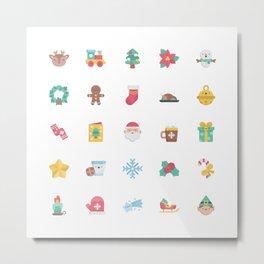 CUTE CHRISTMAS HOLIDAYS WINTER PATTERN Metal Print