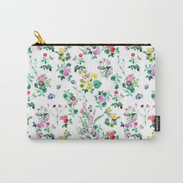 Roses, Moth Orchids, Lilies - Green Pink Blue Carry-All Pouch