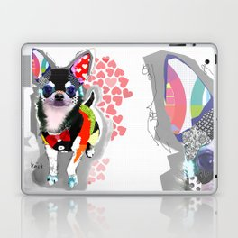 Colorful Chihuahua Dog Pop Art Collage by Michel Keck Laptop & iPad Skin
