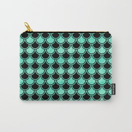 Aqua Mermaid Scales Pattern Carry-All Pouch