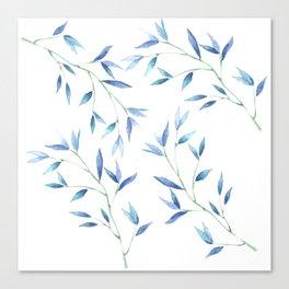 Blue watercolor branch Canvas Print