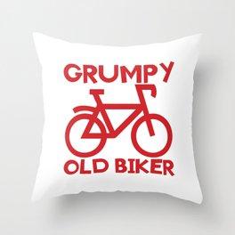 Senior Citizen T-Shirt Gift Grumpy old biker Throw Pillow