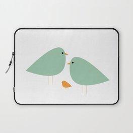 Bird Family in Celadon and Mustard on White. Minimalist Midcentury Scandinavian Laptop Sleeve