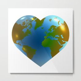 Globe in the shape of heart Metal Print