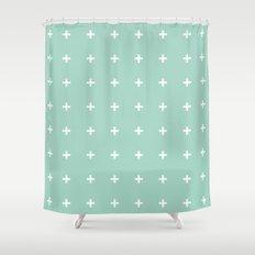 Mint Cross // Mint Plus ///www.pencilmeinstationery.com Shower Curtain